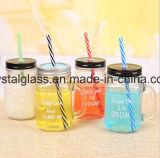 OEM/ODM Griff-Maurer-Glas mit Kappen-Stroh-Lieferanten
