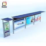 金属のバス停の避難所の太陽バス停のバス停留所