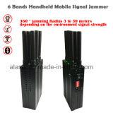 6 plásticas de mão Wi-Fi Bloqueador de interferência de sinal Bluetooth/2G, 3G, 4G telefone celular Jammer