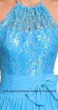 Cuello Halter Top de encaje camiseta sin mangas de gasa vestidos largos Bridesmaid