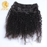 毛の拡張アフリカの黒人女性のためのねじれたカーリーヘアークリップInsの人間の毛髪の拡張モンゴルのねじれた巻き毛クリップのクリップ
