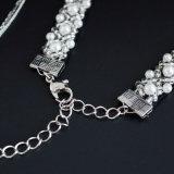 Шариков Имитировать-Перлы шнурка вязания крючком установленные ожерелья чокеровщика белых разнослоистые цепные