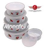 204D 5PCS Taça de esmalte de novo estilo com belas adesivo tigelas de armazenamento