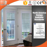 Fenêtre battante en aluminium plaqué bois Stores intégrés Obturateur intégral Intérieur ouvrant Double fenêtre en verre trempé
