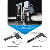 Máquina de estaca redonda de pano do cortador da faca do poder superior com correia transportadora