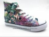 Высокие ботинки способа женщин холстины отрезока с шнурками (ET-YH160337W)