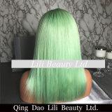 Nuevo verde de la menta de la peluca del frente del cordón de Bob de las llegadas pelucas cortas rectas del pelo humano de 14 pulgadas