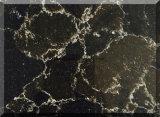 Pedra artificial de quartzo da cor de mármore preta para a bancada