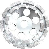 Diamante dobro da fileira que mmói a roda abrasiva do copo para o concreto