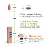 Aluminiumlegierung-Adapter von USB C zum Ethernet mit Nabe 100m und 3 Port-USB3.0 in Goldenem