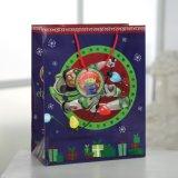 Dibujos animados de navidad de personajes de color azul bolsa de papel, bolsa de papel de regalo,