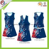 Transferência por sublimação de tinta personalizada mulheres 100% poliéster Netball vestidos uniforme