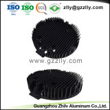 Round barbatana negra dissipador de calor em alumínio com a norma ISO 9001