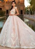Le chapeau nuptiale de robes de lacet gaine la robe de bille formelle Appliqued par rose nu de mariage de garniture Bz107