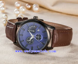Relógios de forma feitos sob encomenda da cinta de couro da liga do relógio do logotipo (WY-G17009A)