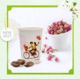 カスタム印刷のロゴの熱い飲み物のためのプラスチックふたが付いている使い捨て可能な単一の壁の段ボール紙のコーヒーカップ
