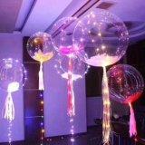 Éclairage LED lumineux de bulle instantanée de cadeaux de l'usager de Valentine vers le haut des ballons avec la bille ronde transparente de bulle de chaîne de caractères de lumières