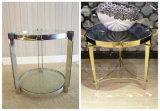 Hotel de 5 estrellas de acero inoxidable muebles Patas de metal/Mármol Piedra mesa de café (KL C02)