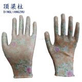 Печать Dlz цветочный сад с покрытием нитриловые перчатки с маркировкой CE
