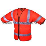 Сетка и застежка-молния полиэфира прикрепляют тельняшку высокой куртки видимости отражательную