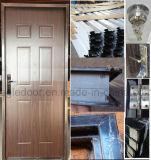 Borda de madeira em estilo americano entrada de aço da porta de segurança metálicas (EF-UM014)