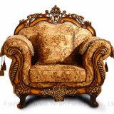 Sofá de madera de la tela con las cabinas para los muebles de la sala de estar