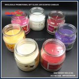 Vela de la jarra de cristal con tapa de plástico y personalizar las velas perfumadas