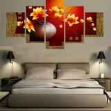 La lona del paisaje del cuadro del arte de la pared de la lona que pinta 5 pedazos de la flor hermosa enmarca la sala de estar moderna decorativa