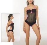 Один Swimsuit Бикини Swimwear повелительниц прозрачной черной сетки части сексуальный