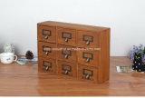 Gabinete de armazenamento de madeira de 9 gavetas do vintage do estilo de Japão