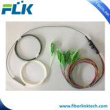 Il divisore ottico del PLC della fibra di FTTX FTTH con la fibra nuda del nastro del kit di uscita ha protetto il Pdl basso di 0.9mm