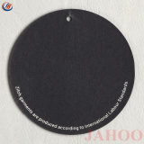Negro personalizado de calidad de papel de forma redonda etiqueta para colgar la ropa