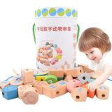 Blocchetti di filettatura di legno di numero di alfabeto dei branelli dei giocattoli di legno di formazione dei capretti