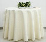 Personalizados baratos al por mayor de poliéster blanco Mantel de lino
