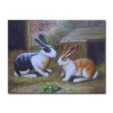 Ручная работа двойной кроликов животных картины маслом для интерьера