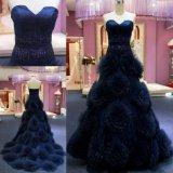 Querido do azul de marinha que perla o vestido de noite do vestido de esfera da cintura