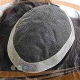 까만 브라질 머리 레이스 가발 Toupee (PPG-l-0284)