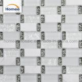 Weißer Streifen-Glassteinküche Backsplash konzipierte Glasmosaik-Fliese
