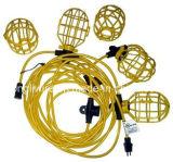50 Birne UL/CSA bestätigte des Fuss-5 weißglühende temporäre bewegliche Zeichenkette-Arbeits-Beleuchtung mit Plastikrahmen-Gelb