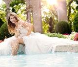 A V-Garganta do vestido nupcial de Organza do laço perlou A - linha vestidos de casamento 2018 SA2016