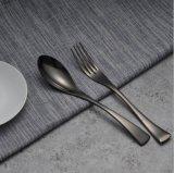Les couverts noirs ont placé 4 parties d'acier inoxydable d'hôtel de nourriture de vaisselle de bifteck de vaisselle plate