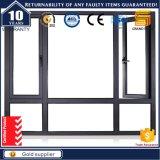 Casement vitrificado dobro de alumínio Windows da grão de madeira