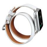 최신 판매 Apple 시계 줄을%s 호화스러운 브라운 두 배 투어 진짜 가죽 시계 줄