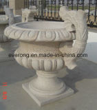 Preiswerter geschnitzter Granit-Stein-Blumen-Potenziometer für Garten und Lanscape