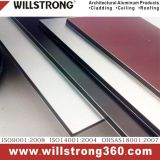 벽 Drcoration를 위한 빨간 솔질된 패턴 알루미늄 합성 위원회
