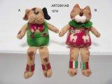 Gatto di natale del panno morbido e regalo del modello del cane, 2 Asst