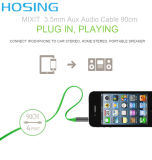 cable recto audio aux. de 3.5m m para el teléfono móvil universal