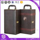 Коробка вина изготовленный на заказ складной индикации высокого качества упаковывая кожаный