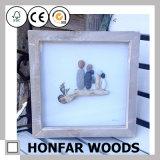 Frame de retrato de madeira ereto de Brown da madeira de pinho para a decoração Home