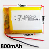 bateria recarregável de 3.7V 800mAh 603040 Lipo